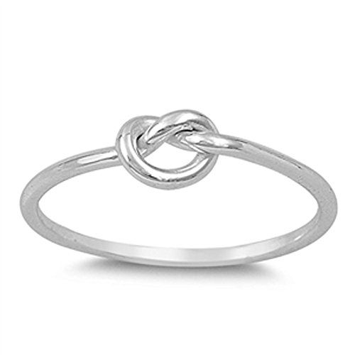 .925 Sterling Silver Plain Heart Knot Ring Sizes 3-12 (Three Colors) (sterling-silver, 8)