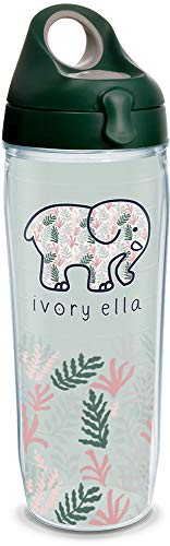 Tervis 1318747 Ivory Ella - Multi Leaves Insulated Tumbler with Wrap and Lid 24 oz Water Bottle - Tritan Clear ()