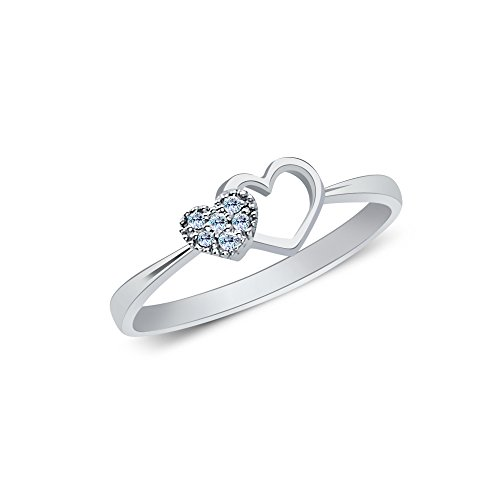 Ioka Jewelry - 14K White Solid Gold Double Heart Pave Fancy Cubic Zirconia CZ Ring - size (Fancy Double Heart)
