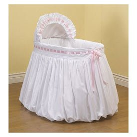 BabyDoll Pretty Ribbon Bassinet Liner/Skirt and Hood, Pink, 16''x32''