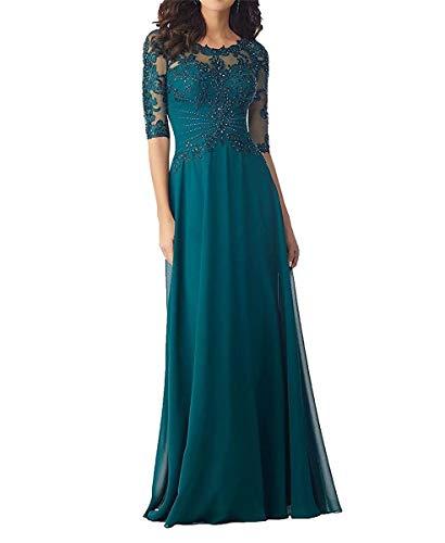 Women's Beading Evening Dresses Half Sleeves Chiffon Long Mother of Bride Dresses Teal