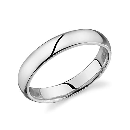 10k Solid White Gold Comfort Fit 4mm Wedding Band Ring Size 10.5