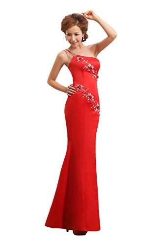 Shoulder One formale Mermaid Emily Beauty Rot Abendkleid mit qFz5Ewz6xn