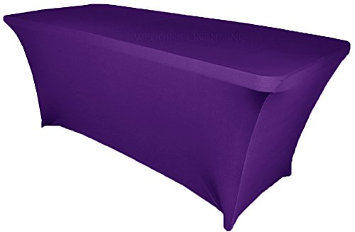 Wedding Linens Inc. Wholesale (200 GSM) 8 FT Rectangular Spandex Stretch Fitted Table Cover Tablecloths Regency