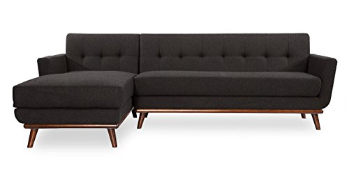 entury Modern Sectional Sofa Left, Charcoal Cashmere Wool (I Love Lucy Lounge)