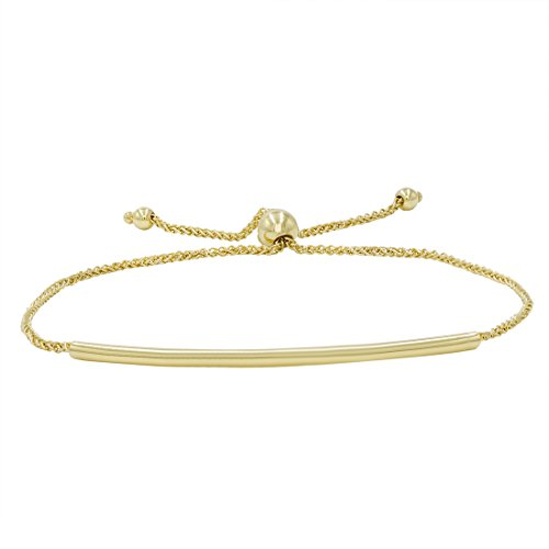 14k Yellow Gold Bangle Bracelet - Amanda Rose Bar Bolo Bracelet in 14k Yellow Gold (Adjustable)