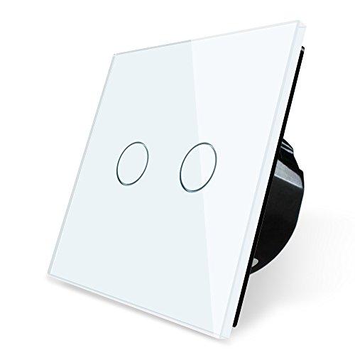 Wallpad 2 Gang 2 Way Capacitive White Glass Touch Sensor 1-200w Light Switch, Square Size, UK Standard
