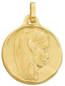 Diamantly - Médaille Vierge Satinee Entourage Vague Lisse - or 375/1000375/1000 (9 Carats) - Unisex - Enfant -Bebe-Adulte