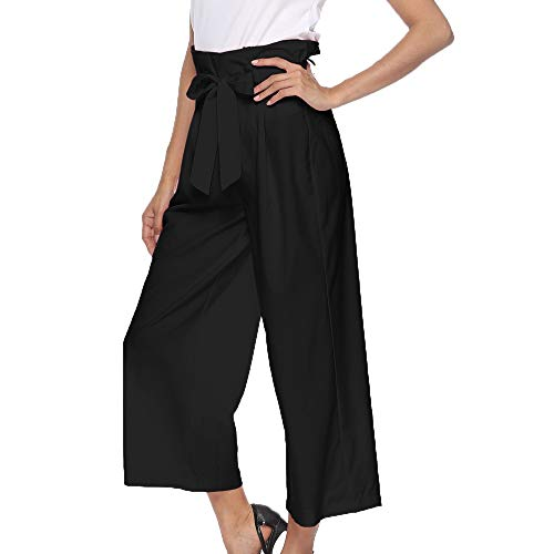 6e9ba19f0466cf JJLIKER Women High Waist Loose Wide Leg Trouser Strap Lace Up Bows  Ankle-Length Pants