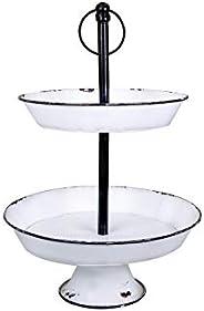 Creative Co-op DA8538-1 2 Tier White Decorative Metal Tray