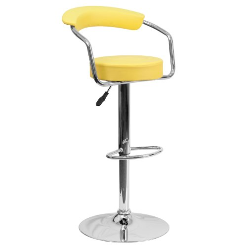 Flash Furniture Contemporary Yellow Vinyl Adjustable Height Barstool with Arms and Chrome Base (Super Discount Furniture)