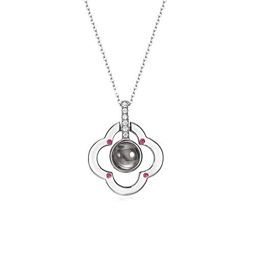 Cuidado 925 Sterling Silver Projective Necklace, The Memory of Love Nanotechnology Necklace, DOUYIN Necklace - 100 Different Languages for I Love U (The Memory of Love) (Four Leaves in Silver) ()