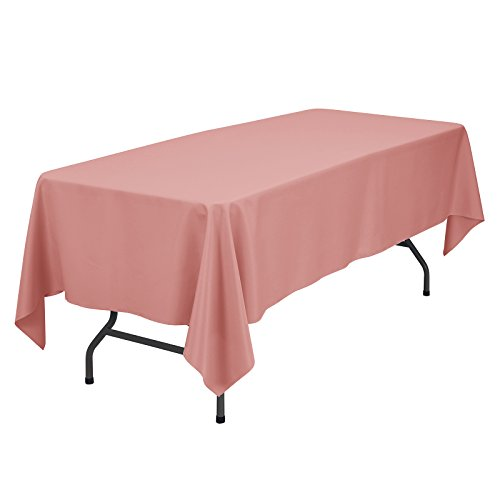VEEYOO Rectangular Tablecloth 100% Polyester Oblong Table Cloth for Bridal Shower - Solid Soft Oval Table Cover for Wedding Party Restaurant Party Buffet Table (Coral, 70x120)]()