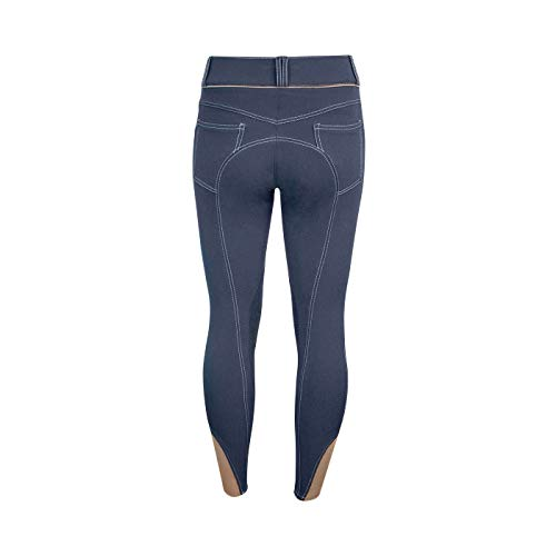 (ELATION EuroSeat Breeches, Platinum Brooklyn Riding Breeches for Women, Thick Elastic High Waist w/Contrast Piping & Leather Knee Patch -Ladies Equestrian Riding Pants & Horse Show Breech (Navy, 34R) )