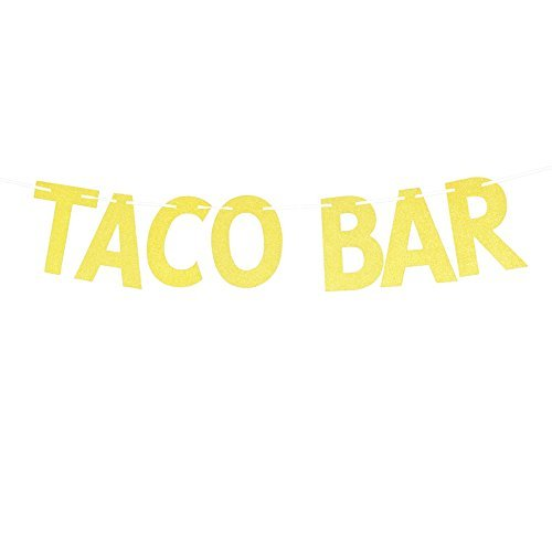 (Gold Glitter Taco Bar Banner, Mexican Theme Party Decorations Signs Bunting Garland Photo Booth Props For Fiesta Party, Cinco De Mayo)