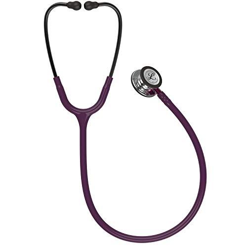 3M Littmann Classic III Monitoring Stethoscope, MirrorFinish Chestpiece, Plum Tube, Pink Stem and Smoke Headset, 27 inch, 5960