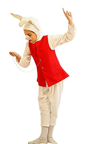 [Easter-World Book Day-Wonderland-Carroll DELUXE WHITE RABBIT Child's Fancy Dress - All Ages (TEEN)] (Child Deluxe Peter Pan Costumes)