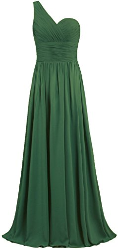 ANTS Women's One Shoulder Long Chiffon Bridesmaid Dress Homecoming Gown T901-MFN