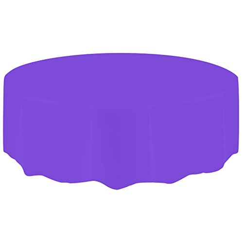 - Mome Family Tablecloth  1PC Round Disposable Plastic Cover Cloth- Orange,Red,Hot Pink,Purple (2.13M) (Purple)