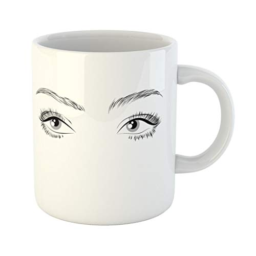 Semtomn Funny Coffee Mug Abstract Eyes Long Eyelashes Drawing Beauty Beautiful Black Cartoon 11 Oz Ceramic Coffee Mugs Tea Cup Best Gift Or Souvenir -