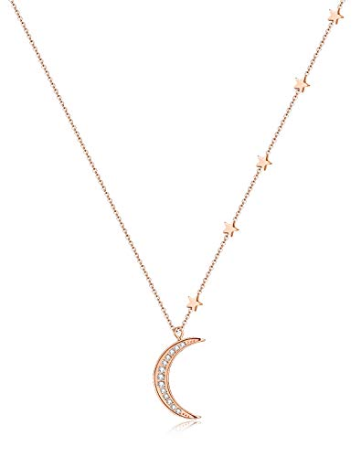Tornito Stainless Steel Star Moon Pendent Necklace Crescent Moon CZ Pendant Chain for Women Girls 18-20 Inches Rose Gold Tone