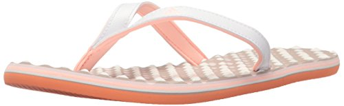 adidas Performance Women's Eezay Dots W Athletic Sandal, White/Haze Coral Ice Purple Fabric, 10 M US (Adidas Water Slides)