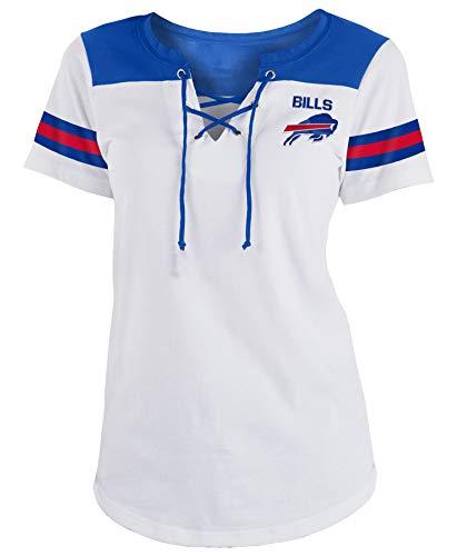 (New Era Buffalo Bills Women's Sleeve Striped Lace-Up T-Shirt)