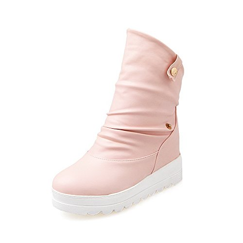 Women's PU On Heels Pull Closed Pink Kitten Round AgooLar Boots Solid Toe Sqpwx11