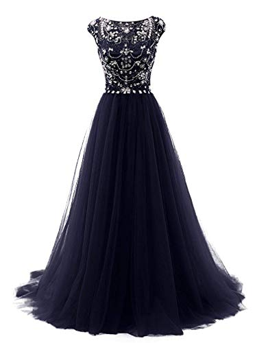 Women's Beads Long Prom Dress Tulle Cap Sleeves Evening Dress,10,NavyBlue -