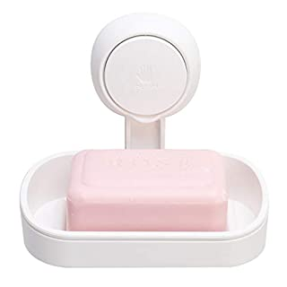 TAILI Suction Cup Soap Dish Powerful Vacuum Suction Soap Holder, Strong Sponge Holder for Shower, Bathroom, Tub and Kitchen Sink, Drill-Free, Removable