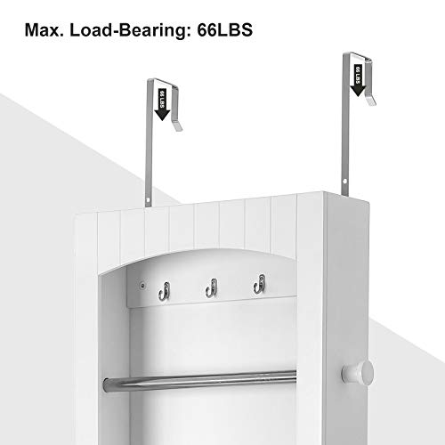 SONGMICS Bathroom Storage Cabinet, Door/Wall Mounted Save Floor Space, Adjustable Shelves White UBBC74WT by SONGMICS (Image #6)