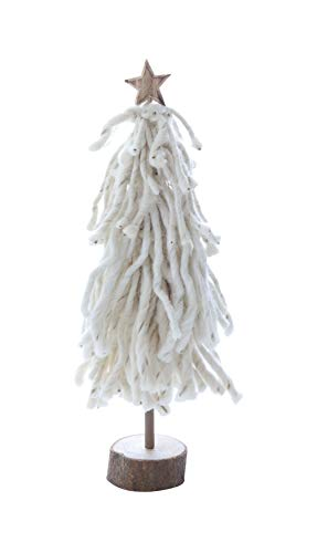 Creative Co-Op 16 Inch Wool Tree on Wood Slice with Star, Cream, Multicolor