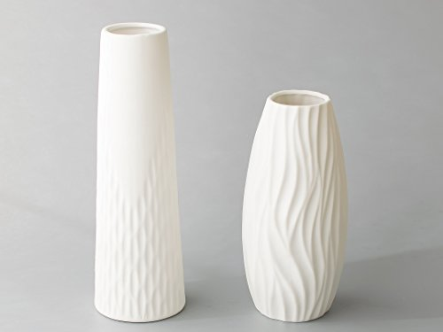 Opps White Ceramic Vases with differing Unique Rope Design for Home Décor