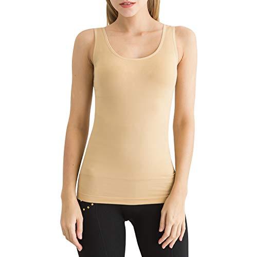(SlendShaper Women's Scoop-Neck Tank Top Firm Tummy Control Shaper Seamless Slimming Shaping Tanks (Medium, Beige))
