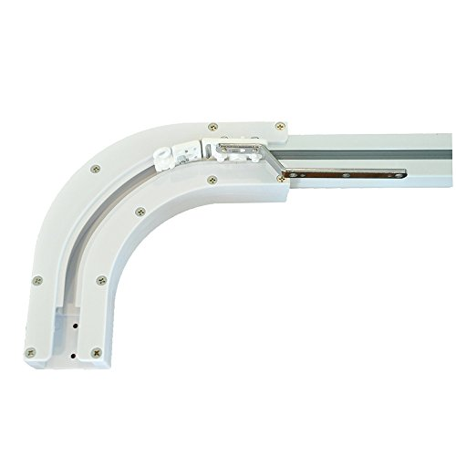 (Rollerhouse 90 Degree U Type and L Type Window Electric Curtain Track Joiner, Curved Belt Track for Electric Power Bay Window Curtain Rail (90 Degree))