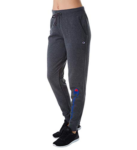 Champion Women's Powerblend Jogger, Granite Heather Graphic, Large (Graphic Womens Sweatpants)