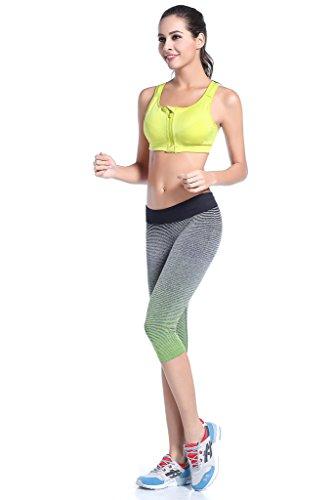 Bwiv leggings deportivos para mujer hasta la pantorrilla gradación de colores pantalones de running ejercicio entrenamiento Gris y verde