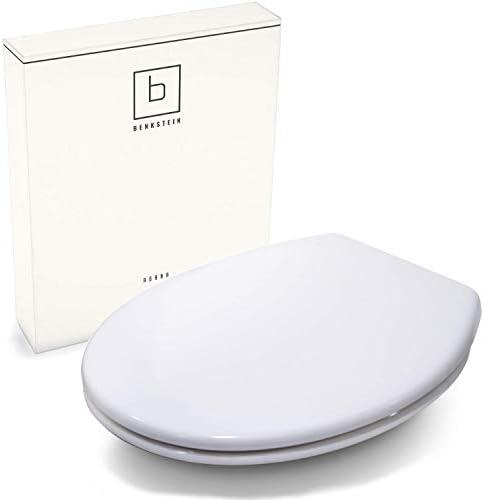 Benkstein® Premium Toilettendeckel oval weiß. Klodeckel mit Quick-Release-Funktion und Softclose Absenkautomatik. Antibakterielle Klobrille aus Duroplast und rostfreiem Edelstahl abnehmbar.(Klassisch)