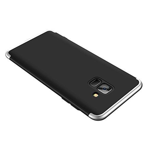 Carcasa para Samsung Galaxy A8 2018 Funda, Sunroyal 360 Grados Full Body protección 3 en 1 Combinación anti-scratch Mate PC Shell Duro Todo Incluido A prueba de Choques Anti-Scratch [Ultra Slim Fit] C Negro y gris