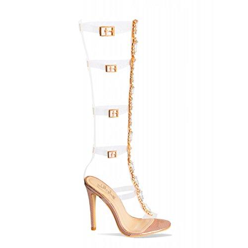 Rose Damen Gold Sandalen Pumps Streifen b Sandaletten Heels High Gladiator Knöchelriemen Schuhe mit Schnalle Stiletto Onlymaker Transparente Strass Klar tHTaxqS