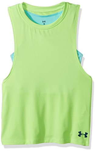 Under Armour Girls Bras (Under Armour Girls' 2-in-1 Tank, Quirky Lime/Blue Infinity, Youth Medium)