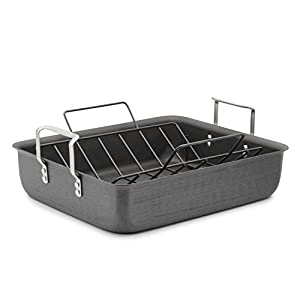 Best Epic Trends 31YFM2j8edL._SS300_ Calphalon Classic Hard-Anodized 16-Inch Roasting Pan with Nonstick Rack
