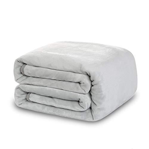 Balichun Luxury 330 GSM Fleece Blanket Super Soft Warm Fuzzy Lightweight Bed or Couch Blanket Twin/Queen/King Size(Queen,Silver Grey)