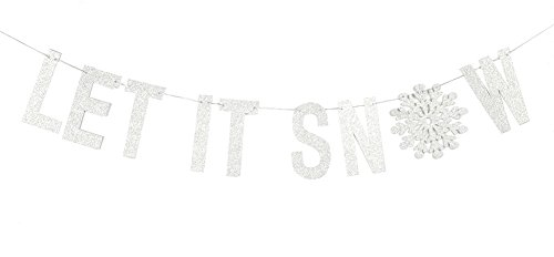 Silver Glitter Let It Snow Garland Winter Banner with Snowflakes Holiday Wall Decoration Christmas Frozen Party Supplies SUNBEAUTY ()