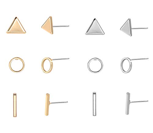 Zealmer Geometric Stud Earring Set Gold Silver 6 Pairs Simple Triangle Circle Bar Shape for Men Women