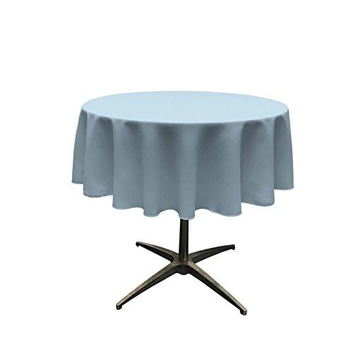 "LA Linen Polyester Poplin Round Tablecloth, 51"", Blue Light"