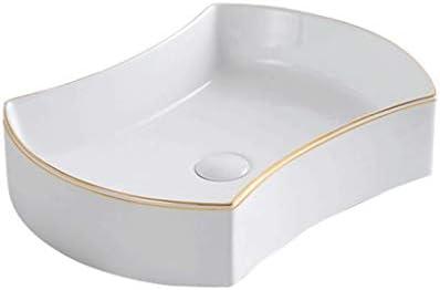 WJ 洗面台 バスルームの洗面台、セラミック洗面台家庭用超薄型家庭用浴室の洗面台(蛇口なしシングル盆地)、利用可能な2つのサイズ /-/ (Size : 43.3X34X12cm)