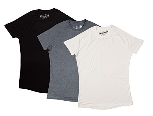 Mr. Davis Comfort Fit Premium Bamboo Viscose Tailored Cut Crew Neck Men's Undershirt Variety 3 Pack Size Large in White, Grey and Black ()