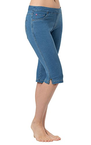 PajamaJeans Women's Soft Knee-Length Stretch Denim Shorts, Bermuda Wash, LG 12-14 (Shorts Denim Pocket Stretch)