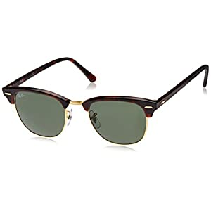 Ray-Ban CLUBMASTER - MOCK TORTOISE/ ARISTA Frame CRYSTAL GREEN Lenses 51mm Non-Polarized